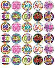 30 x 60th Birthday Edible Cupcake Toppers Wafer Paper Fairy Cake Topper