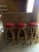 Vintage Bamboo Rattan and wicker  Bar With 3 Stools RARE Mid-Century