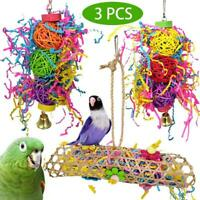 Parrot Bird Chew Toy Cage Hanging Strip Budgie Woven Grass Foraging Bite Toy