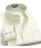 Men's Regular Fit Long Sleeve Solid Color One Pocket Dress Shirt In Off White