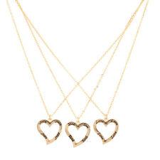 Lux Accessories Faith Hope Love Multi Heart Best Friends BFF 3 PC Necklace Set