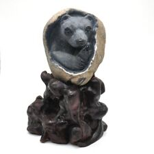 "4.5"" Black Agate Bear Stone Carving Healing Crystal Animals Statue Decor Gift"