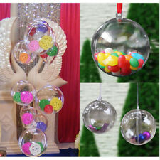 12Pcs Christmas Tree Ornament Clear Plastic Balls Bauble Craft Gift Box Can Open