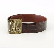 RALPH LAUREN Belt Brown Alligator Brass American Eagle Buckle  31