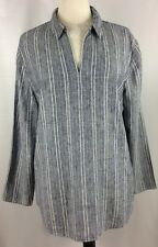 Chico's Size 3 (16-18) Blue, White, & Gold Striped Linen Blend Long Sleeve Top