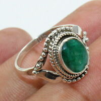 Handcrafted Emerald 925 Sterling Silver Ring Jewelry - ANY SIZE