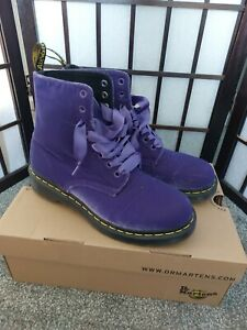 Dr Martens Boots Size 6 Purple Velvet 1460 ribbon laces