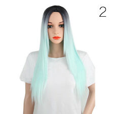 Hair Wigs Women's Long Straight Glueless Lace Front Full Wig Colorful for-Party
