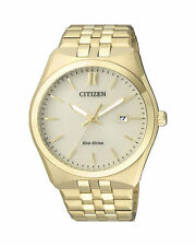 Steel Analog Date Men's Watch Citizen Eco-Drive Bm7332-61P Gold Tone Stainless
