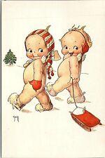 1970s Unused Postcard Kewpies Axe Christmas Tree Sled Snow Fantasy Card O'Neill