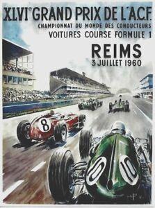 Original vintage poster GP DE FRANCE F1 REIMS 1960 WC RACING