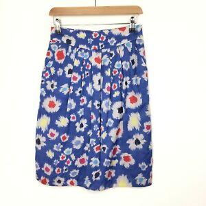 Great Plain 10 UK Blue Tulip Skirt Viscose Cotton Mix Paint Splodge Spotted Blue