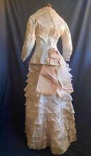 FEMININE 1870s PINK ORGANDY ANTIQUE SUMMER BUSTLE DRESS