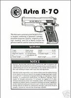 Astra A-70 Pistol Manual New Reproduction