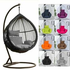 Swing Hanging Egg Rattan Chair Outdoor Garden Patio Hammock Stand Porch Cushions