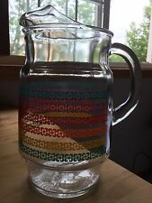 Vtg Heavy Glass Juice Water Pitcher Flowers Rainbow Stripes Sharp Edge See Photo