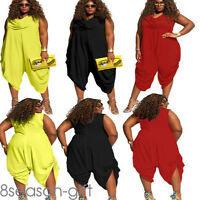 Hot Plus Size Cowl Neck Summer Romper Loose Fitted Baggy Harem Jumpsuit Women A5