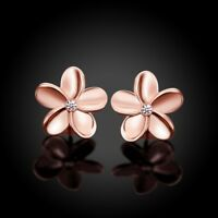 24k Gold Tri-Color Plated White Gold Plated Plumeria CZ Stud Earrings