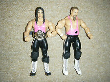 BRET THE HITMAN HART JIM THE ANVIL NEIDHART & BELT TAG WRESTLING FIGURE WWE WCW