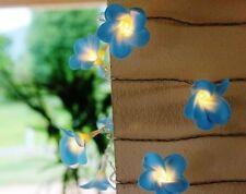 LED Blue Frangipani Fairy Light Flower String - 20 Flowers 220V UK CE Plug