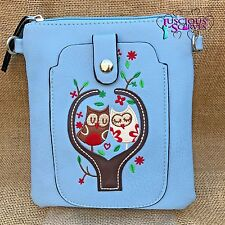Pale Blue Owl Small Bag with Smart Phone Spectacle Holder Long Cross Body Strap