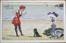 Bathing Beauty 1928 Postcard: Young Lady Scolding Dog at Beach - Artist-Signed