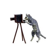 Bronce de Viena personaje animal-gato con cámara-fotógrafo-con sello-mano pintado