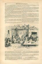 Paysan Breton Paysanne Costume Quenouille Ferme en Bretagne GRAVURE 1844