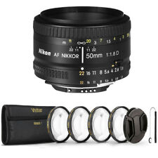 Nikon AF FX NIKKOR 50mm f/1.8D Prime Lens with Essential Accessory Kit