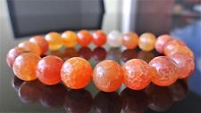 """Orange Crackled Agate bead bracelet for MEN (Stretch) 10mm - 8"""" inch AAA Quality"""