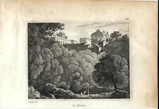 Stampa antica ARICCIA veduta panoramica Roma 1834 Old print Engraving Rome