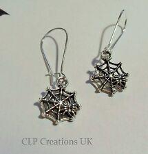 1 paire petites Spiderweb Boucles d'oreilles grosses Tibet argent, goth rock Sorcière Festival