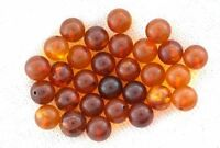 TWO 5mm Round 1/2 Drilled NATURAL REAL Baltic Amber Ball Bead Gem Stone Gemstone