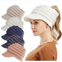 Women Ponytail Beanie Skull Cap Winter Soft Stretch Cable Knit High Bun Hat Lot
