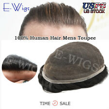 Full French Lace Men Toupee Gray Hair System Replacement Bleached Knot Hairpiece