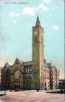 1907 Union Depot Train Station Railroad Indianapolis Indiana Postcard BG
