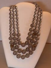 """pdw2 KATE SPADE RHINESTONE & CLEAR GREY PLASTIC BEAD NECKLACE  STRANDS 17 - 22"""""""