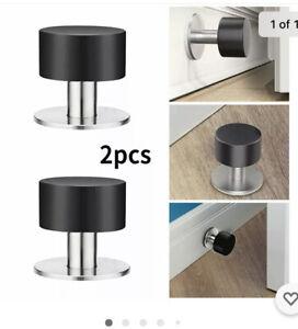 2Packs 304 Stainless Steel Adhesive Door Stops Heavy Duty Rubber Buffer Stopper