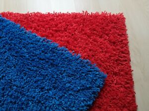 NEW SOFT RED/BLUE THICK & SHAGGY MODERN SMALL RUGS/FLOOR MATS - (80CM X 80CM)