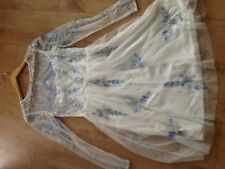 Newlook frock and frill  White / blue sequinned/beaded  dress SIZE 10 brand new