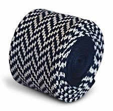 Frederick Thomas Knitted Skinny Navy Blue and White Herringbone Tie FT3292