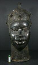 Life size African OBA King Head, BENIN Bronze - Nigeria,TRIBAL ART PRIMITIVE