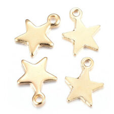 100pcs Gold Plated 304 Stainless Steel Star Charms Smooth Dangle Pendants 10x8mm