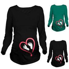 Women Pregnant Baby Foot Love Heart Print Maternity Long Sleeve T-Shirt Cloth AU