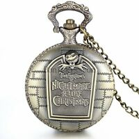 The NIGHTMARE BEFORE CHRISTMAS Quartz Pocket Watch Chain gothic jack skellington
