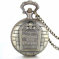 The NIGHTMARE BEFORE CHRISTMAS Quartz Pocket Watch Chain gothic jack skellington