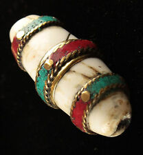 Handmade Nepali Brass Wrapped Conch Shell Bead