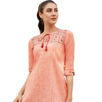 Women Fashion Indian Short Embroidered  Rayon Kurti Tunic Kurta Top