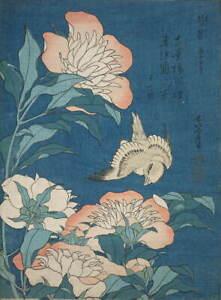 Katsushika Hokusai Peonies and Canary Small Flowers Giclee Paper Print Poster