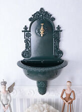 antik Waschbecken Garten Brunnen Wandbrunnen Alu grün Landhausstil